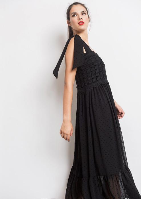Vestido midi vuelo negro