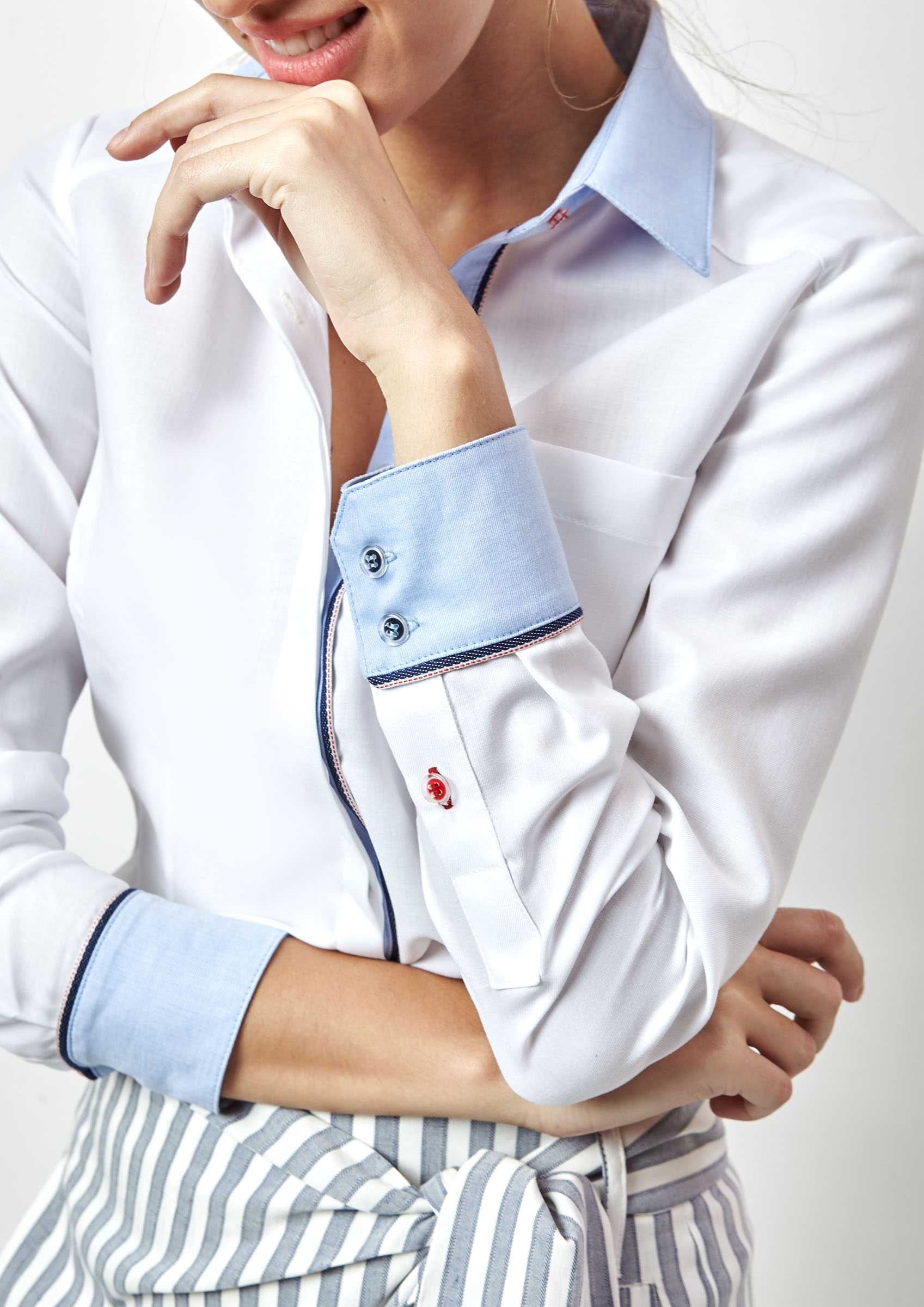 white shirt with contrast collar and cuffs