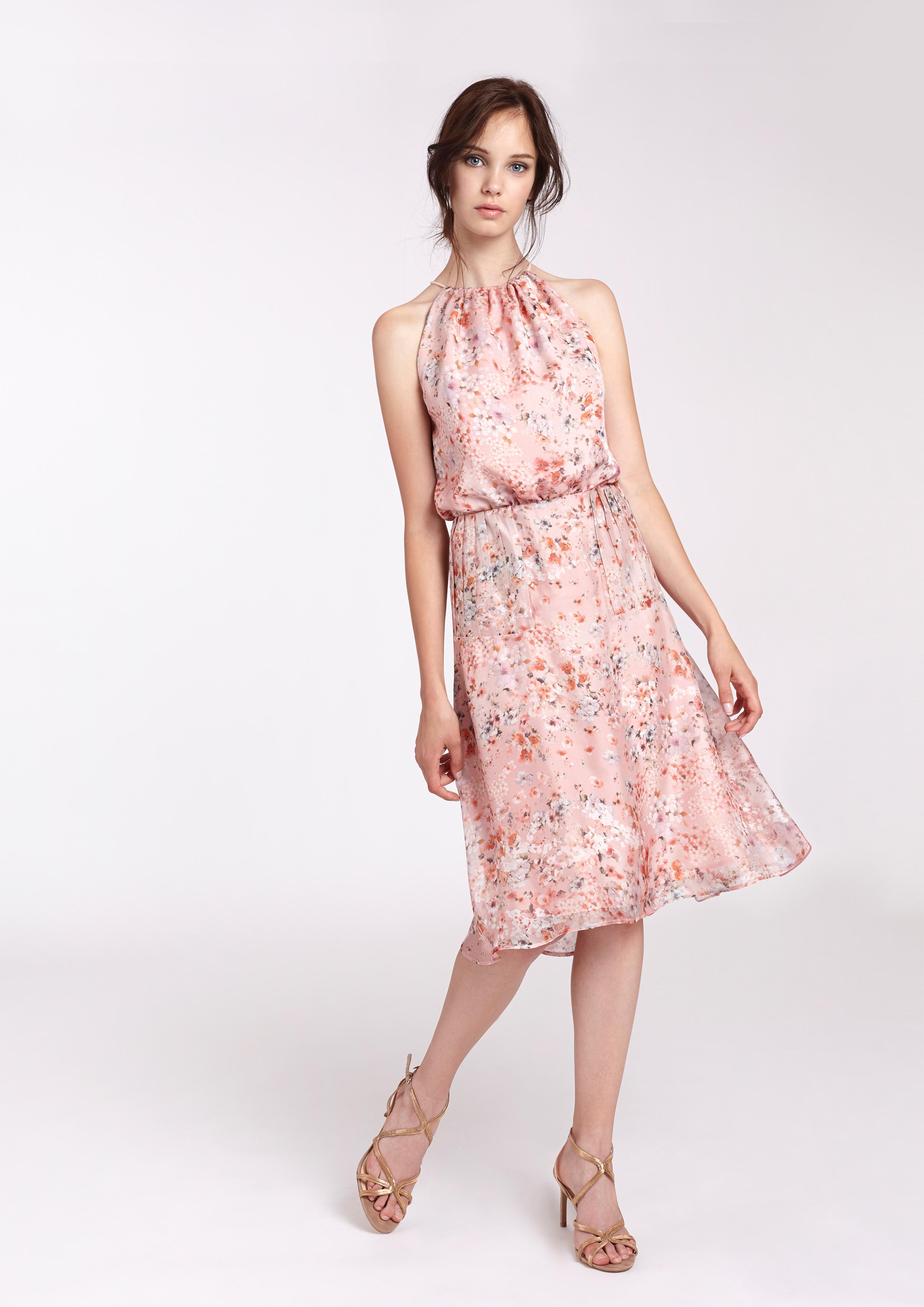 Vestido de seda rosa