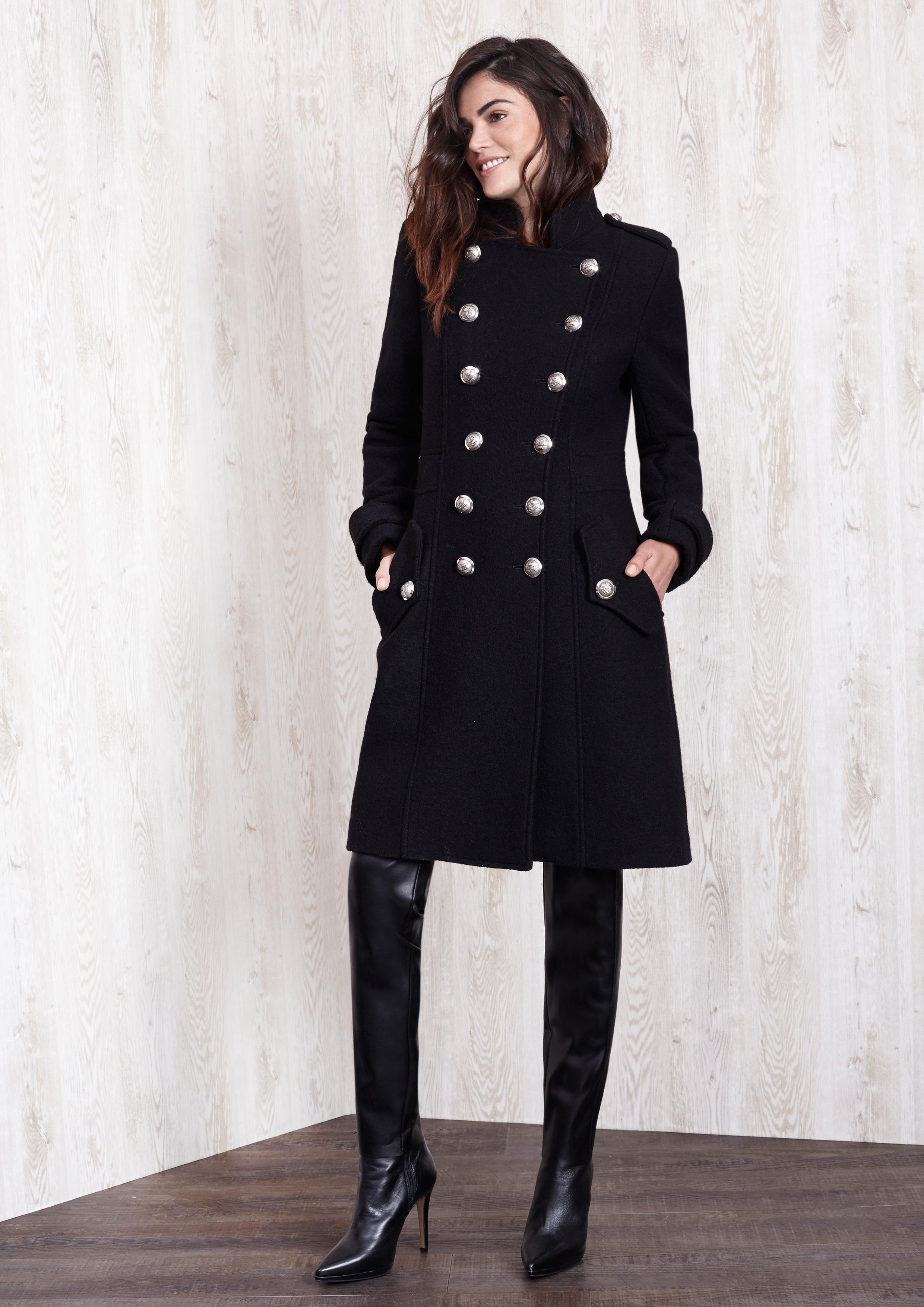 Abrigo negro lana