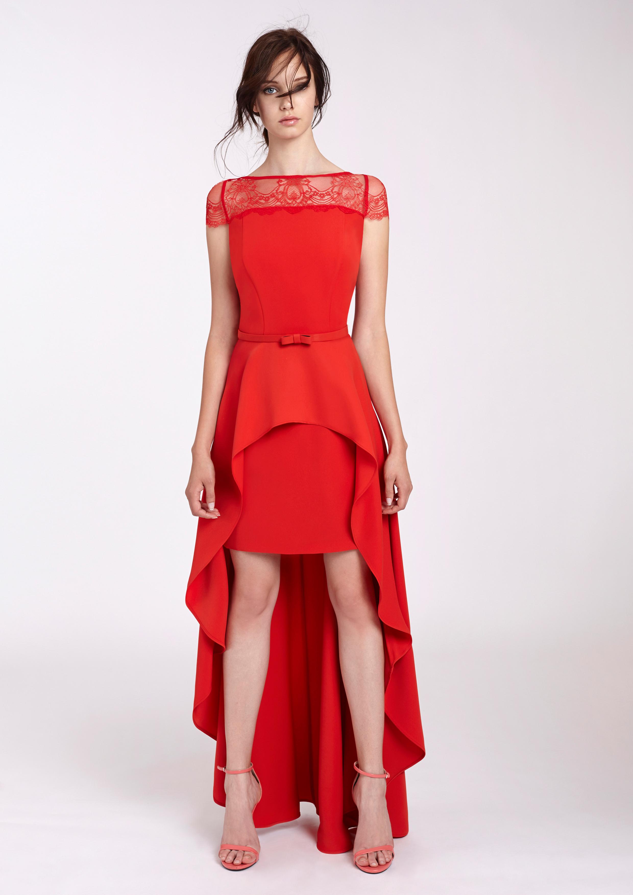 Vestido fiesta rojo asimetrico