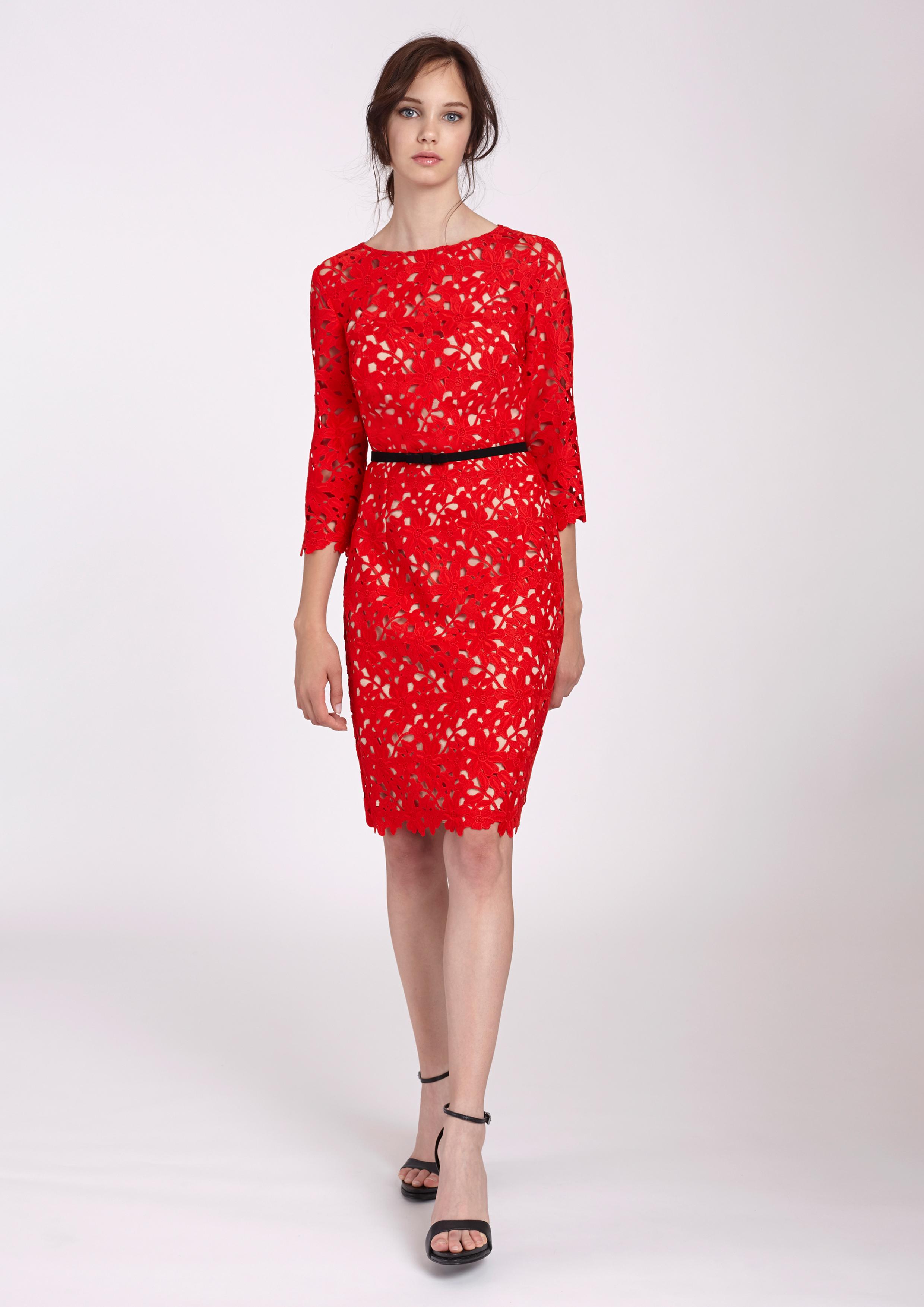 a6ac89e96 Vestido de encaje rojo