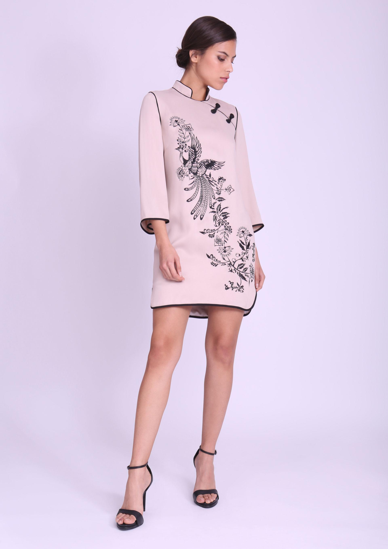 Vestido beige oriental