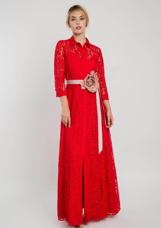 0b7233292 Vestido camisero rojo de fiesta
