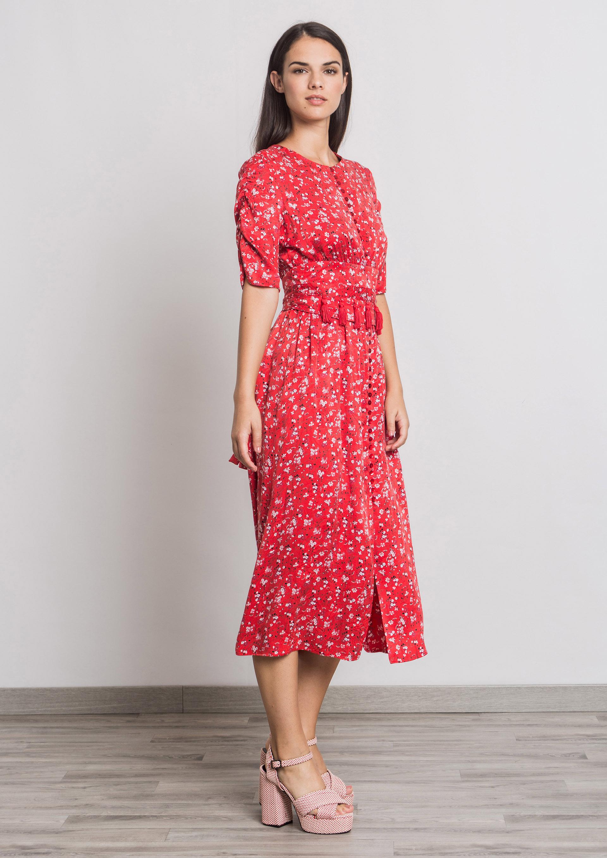9ce891be3 Vestido midi estampado floral rojo