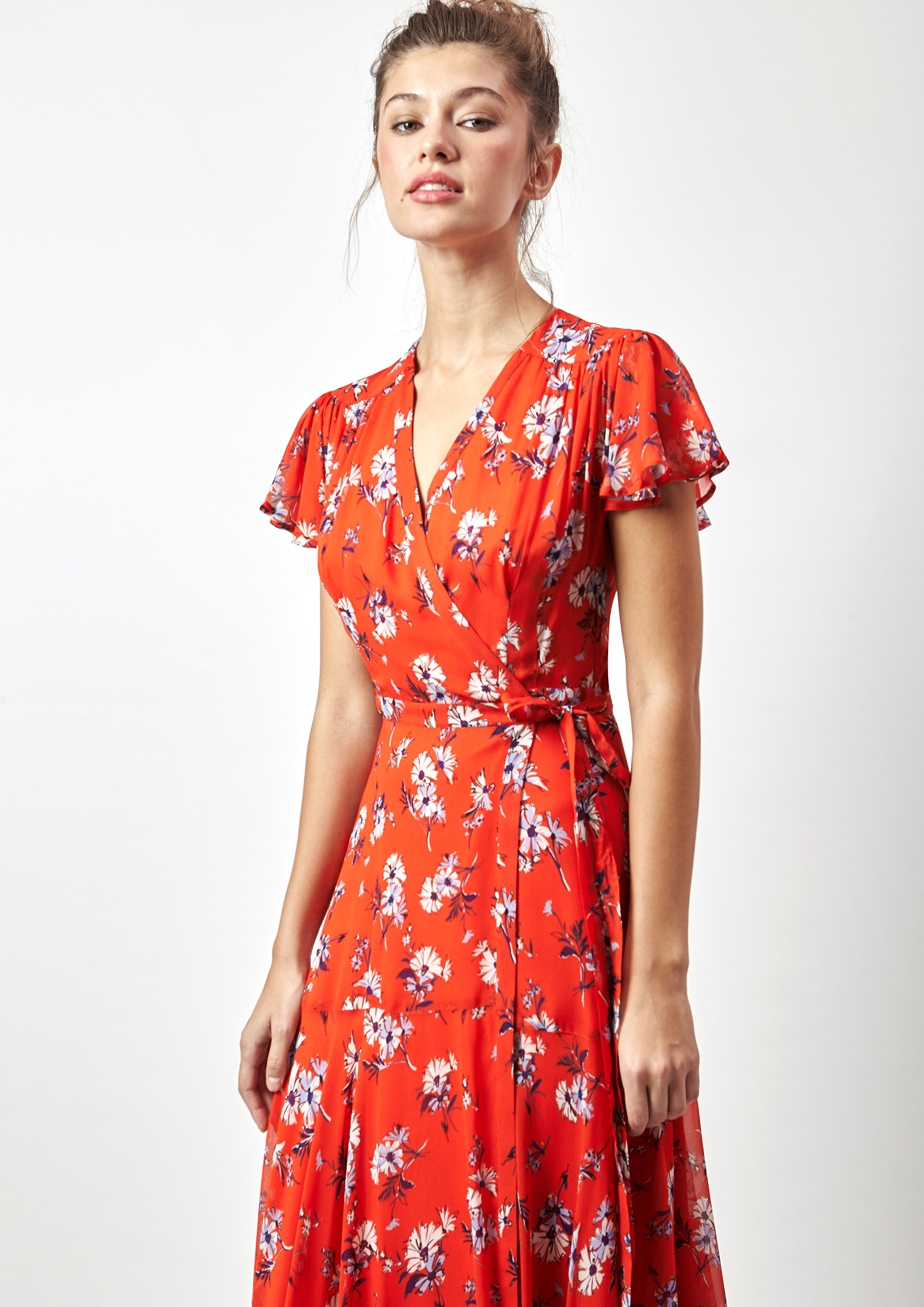 95c7c6302 Vestido estampado floral en rojo