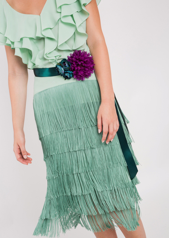 e8dc50463 Falda de flecos de fiesta verde agua