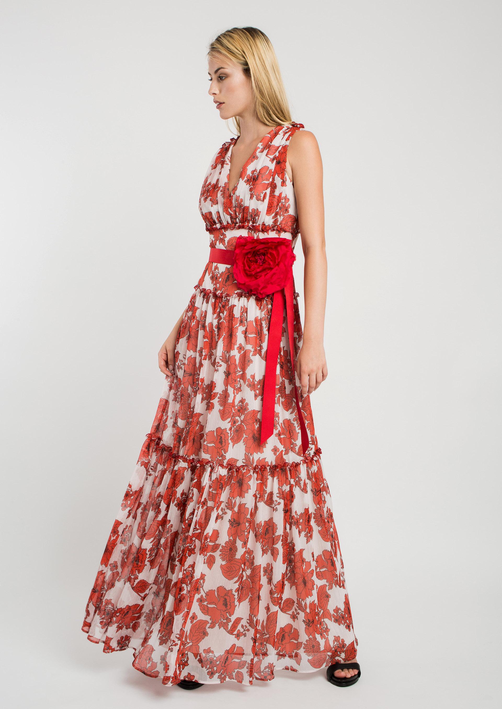 c8bf3029807 Vestido largo de fiesta estampado floral rojo