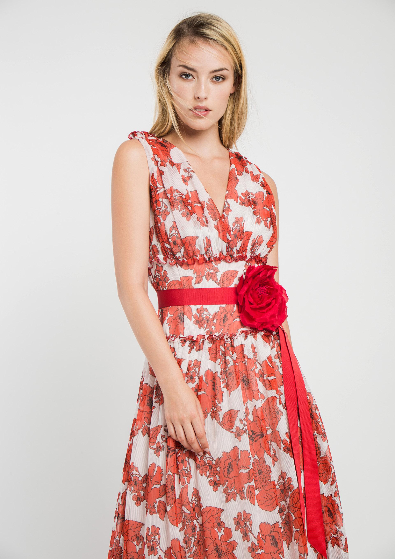 4e2362613 Vestido largo de fiesta estampado floral rojo