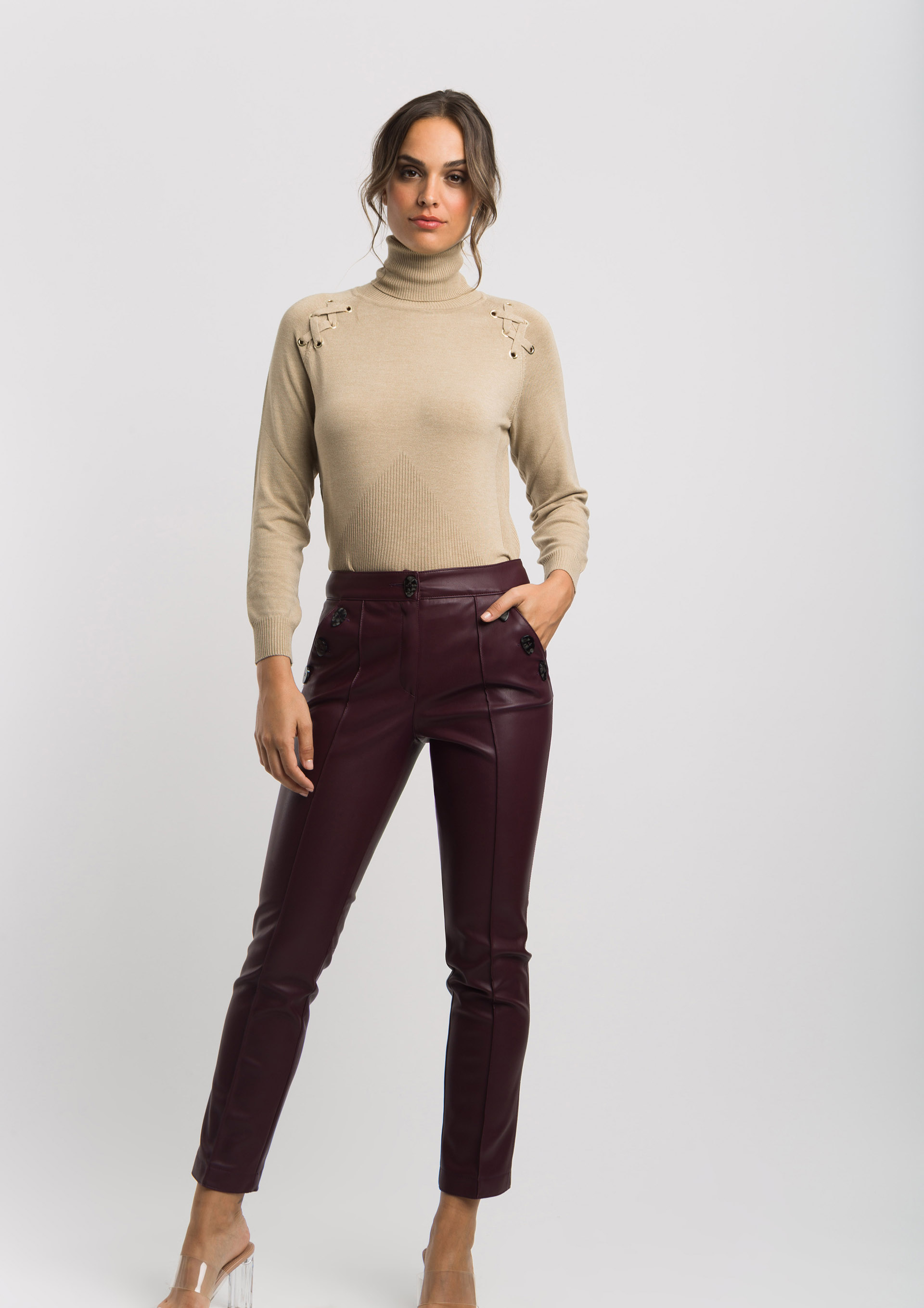 Aubergine leather effect trousers