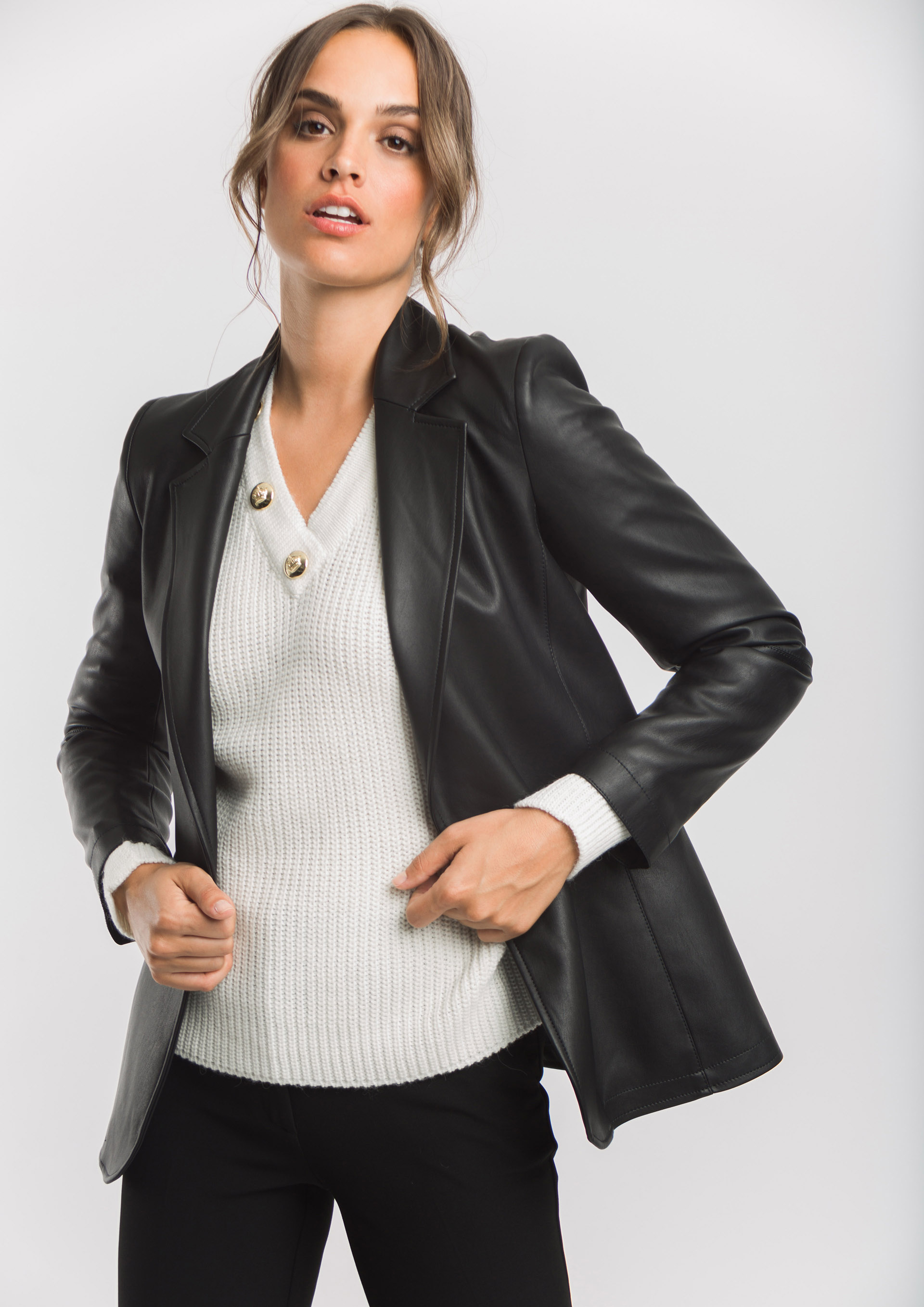 Black leather effect blazer