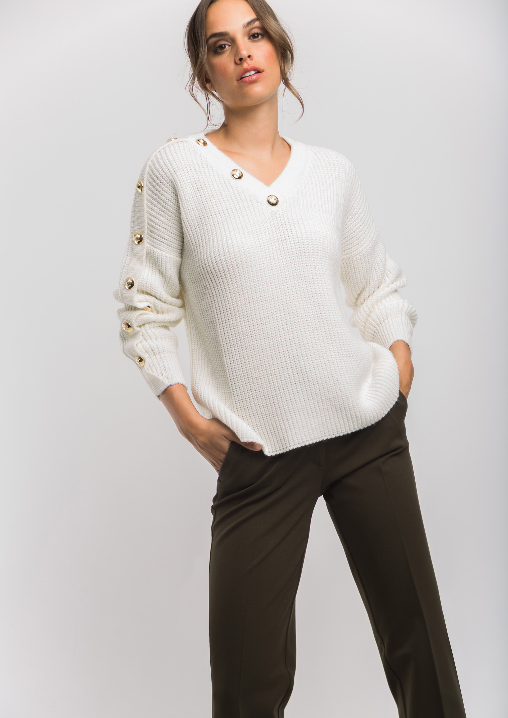 Ecru button jumper