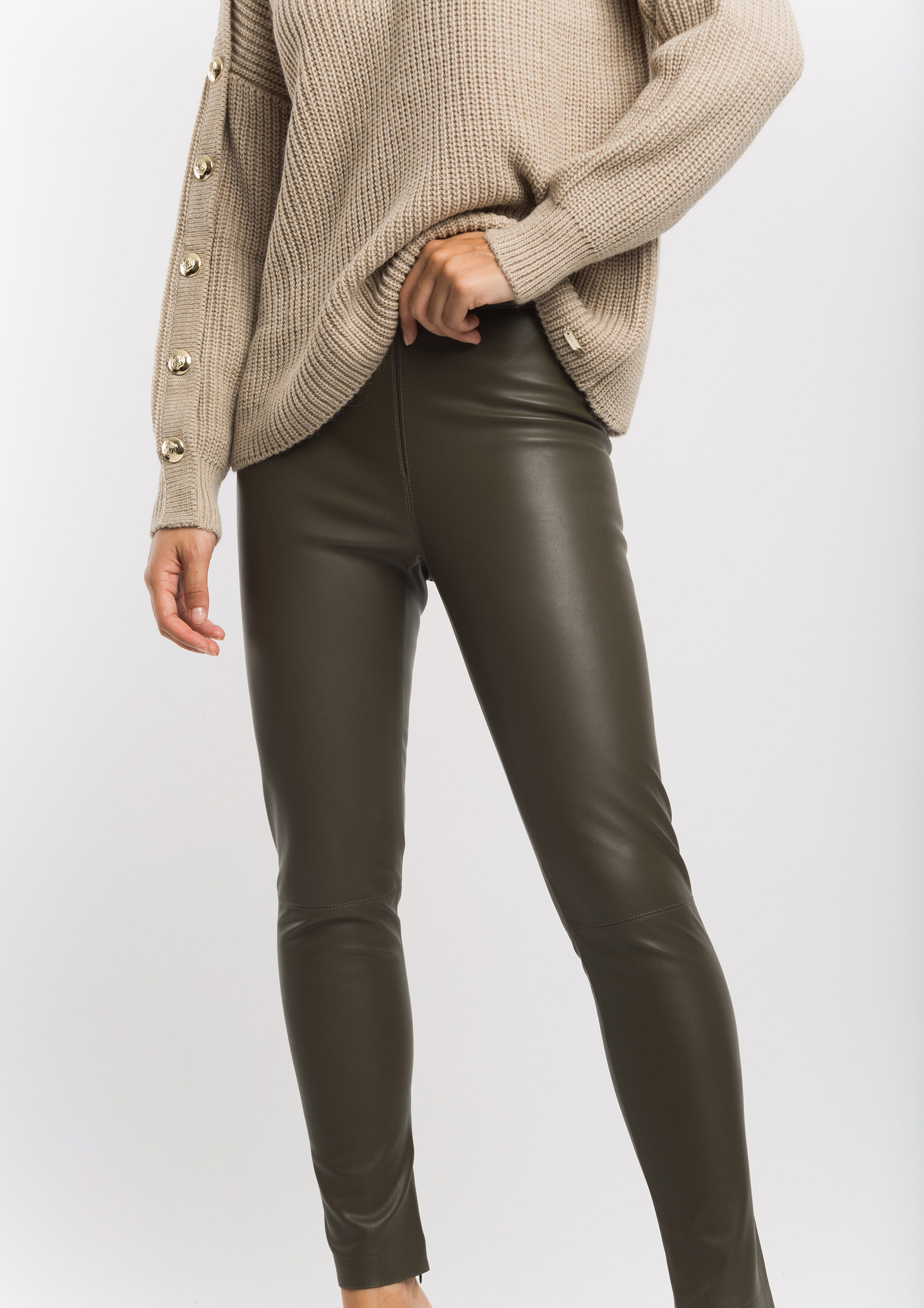 Khaki leather effect trousers