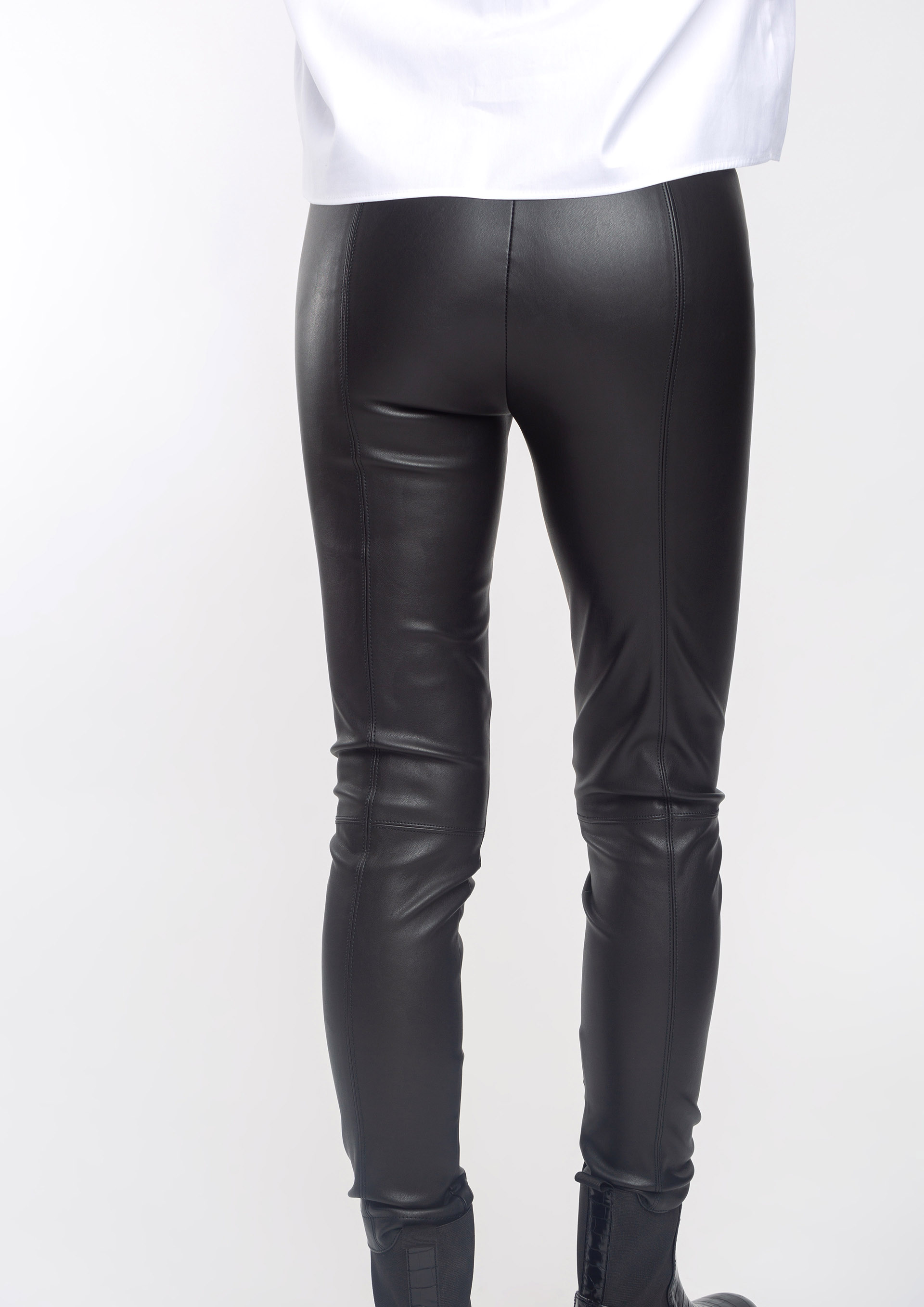 Leather effect black trousers