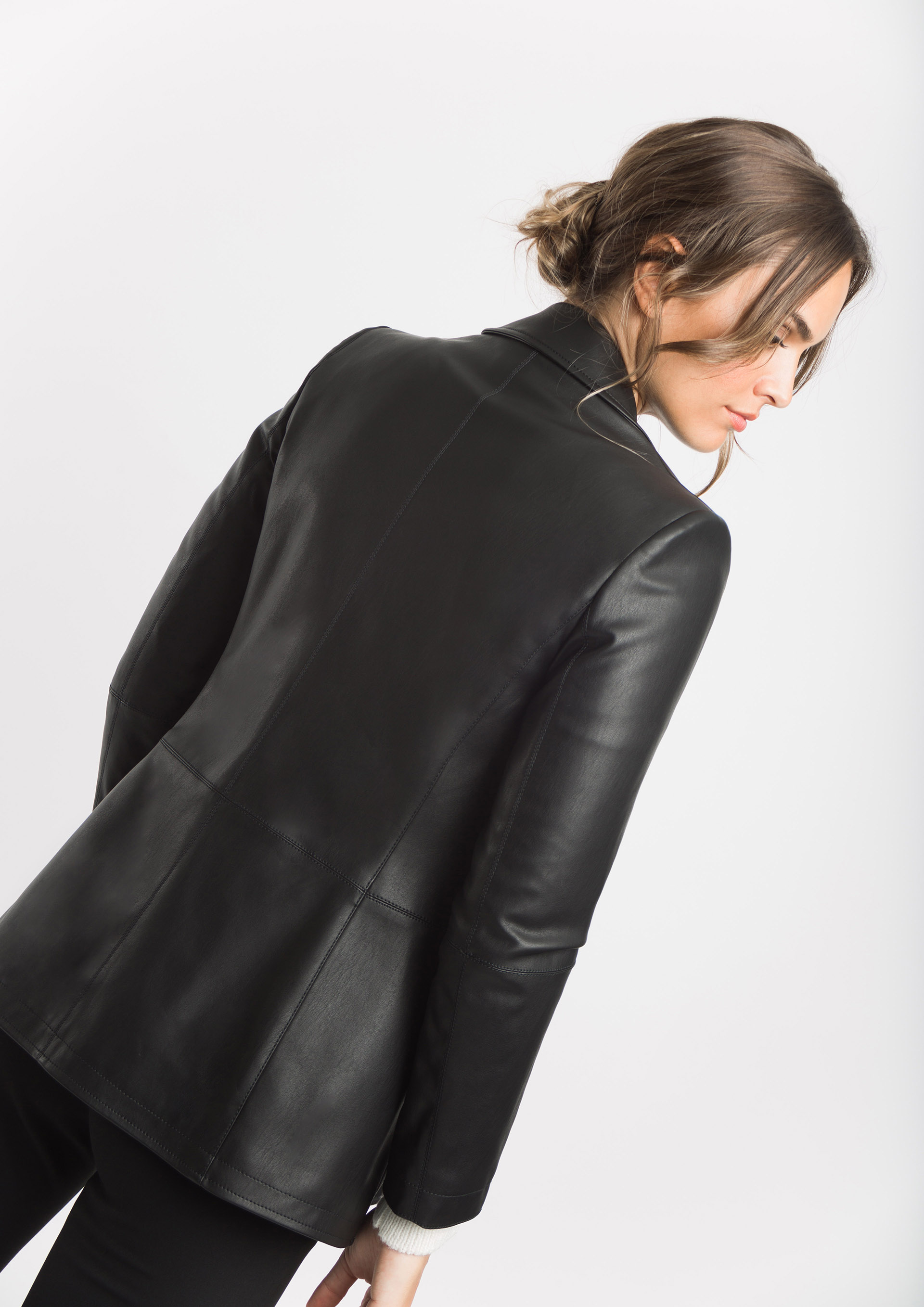 Leather effect blazer
