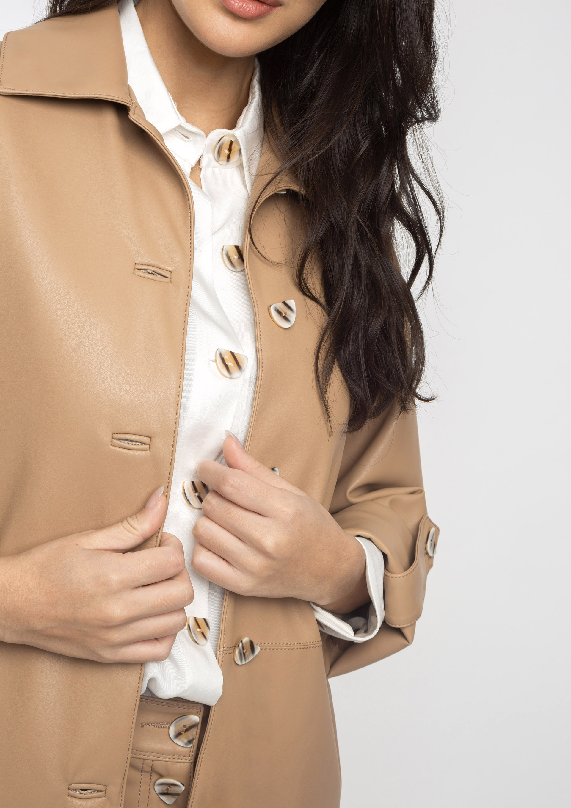 Leather effect camel jacket