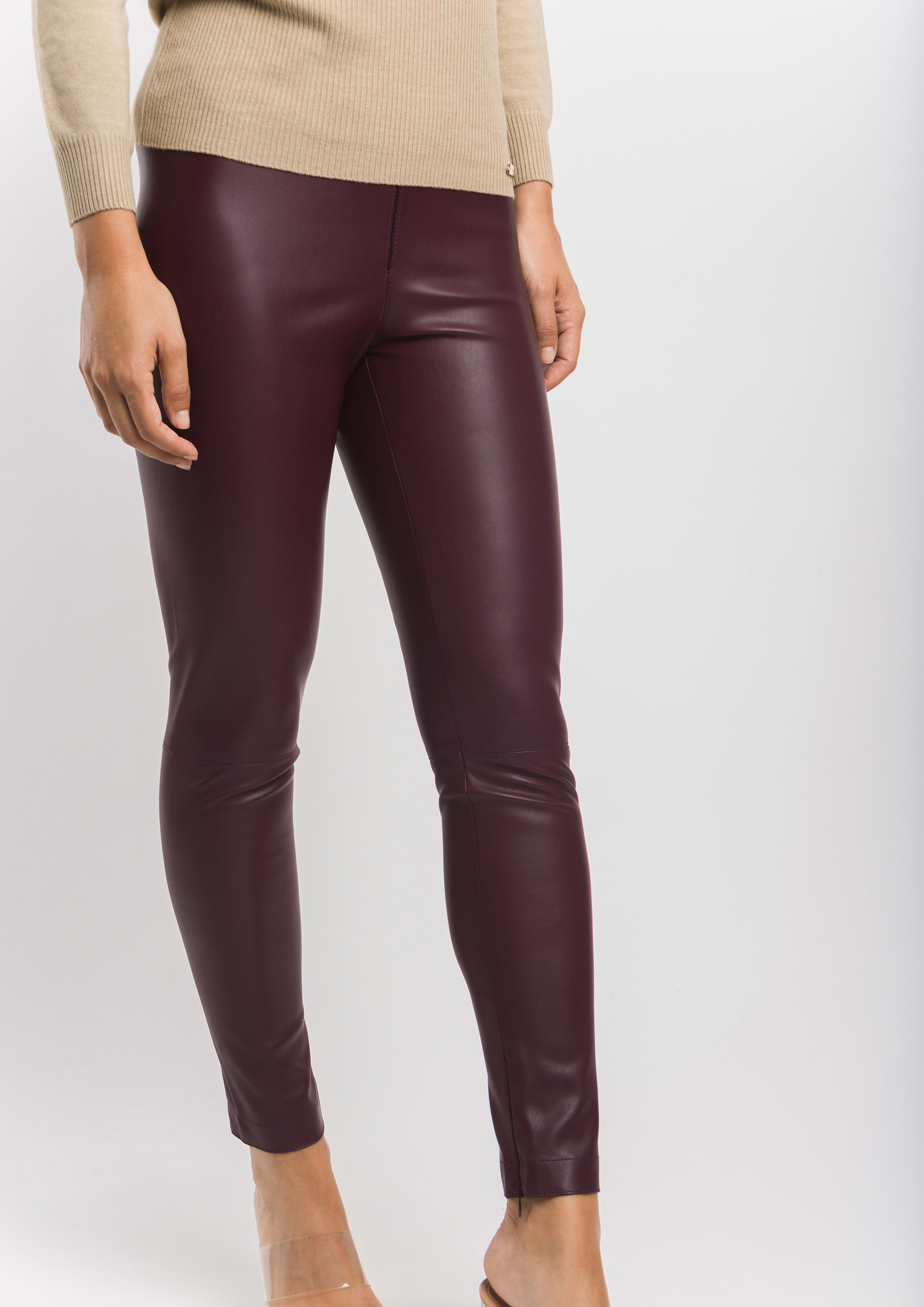 Leather effect cigarette trousers