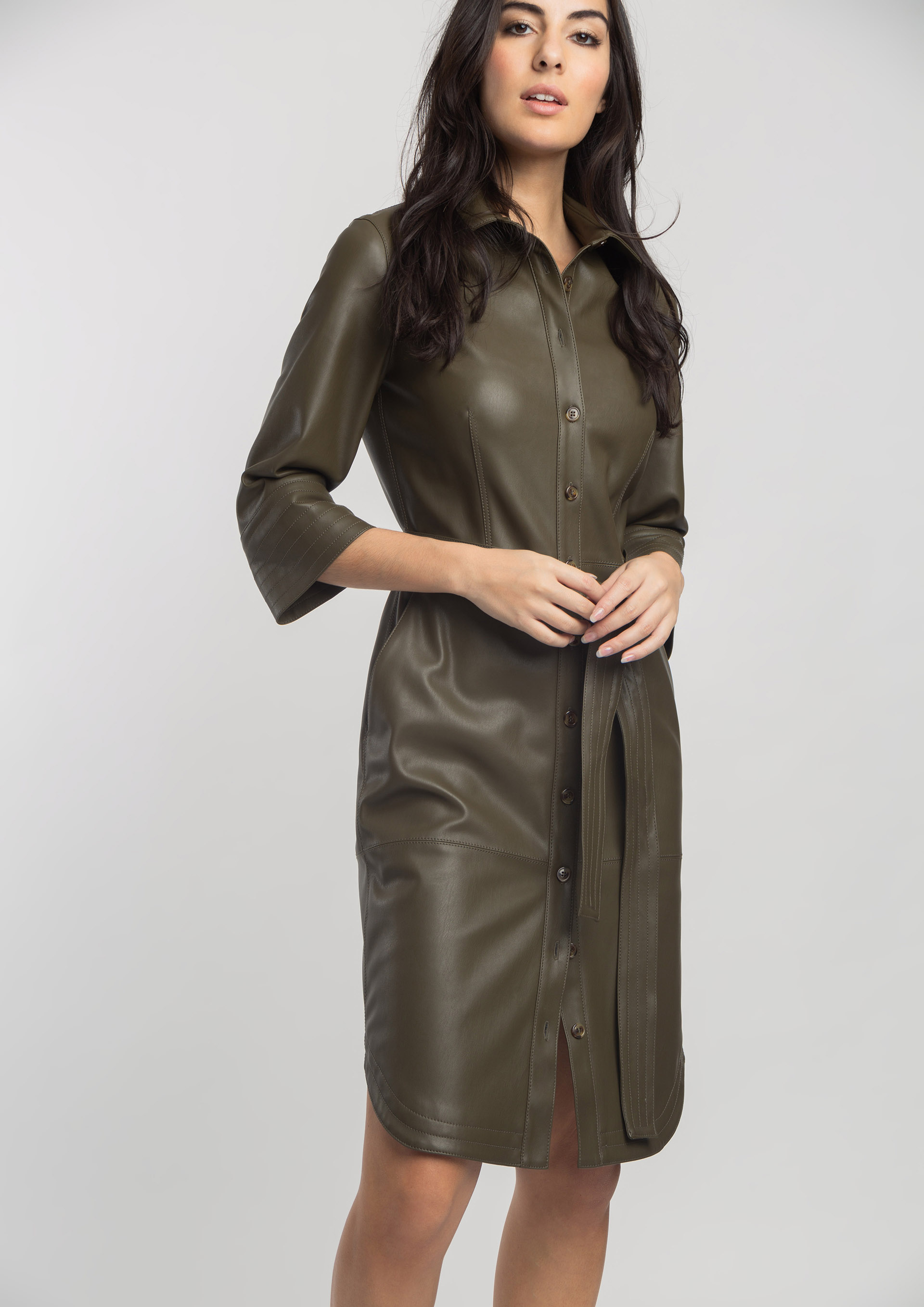 Leather effect khaki dress