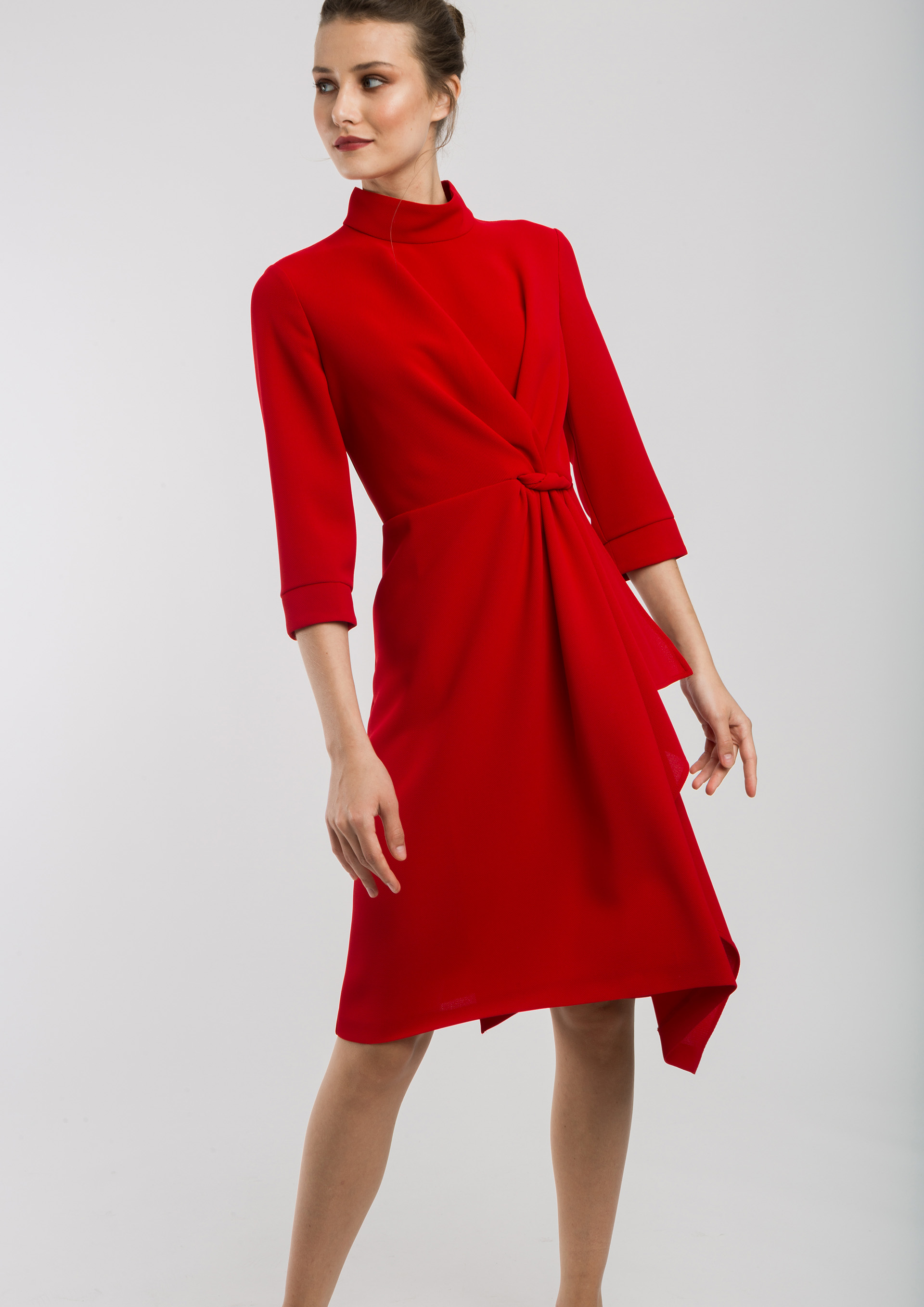 Red gathered dress