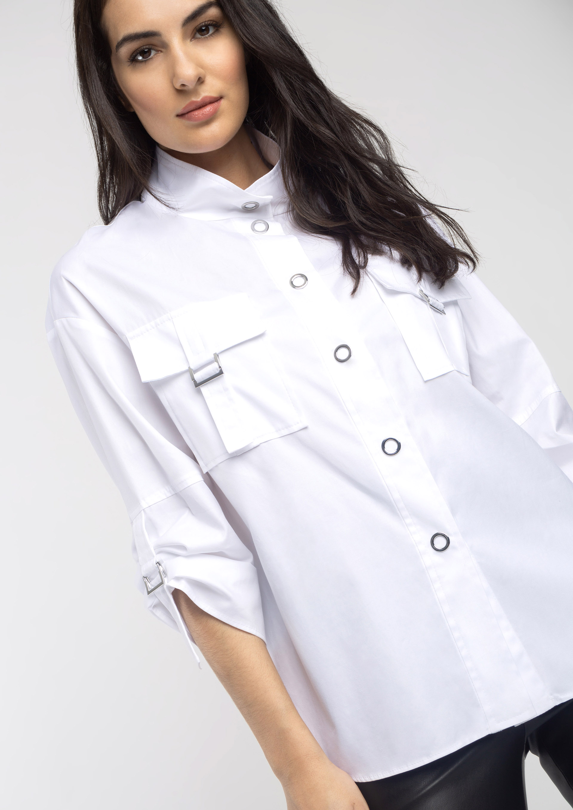 White shirt with loops