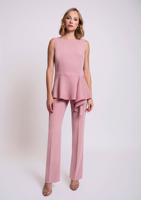 Asymmetric pink top and trousers