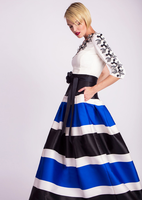 Asymmetric top with special occasion skirt