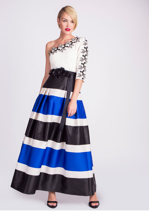 Asymmetric top with striped skirt