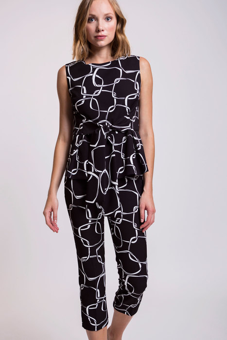 Black printed top and trousers