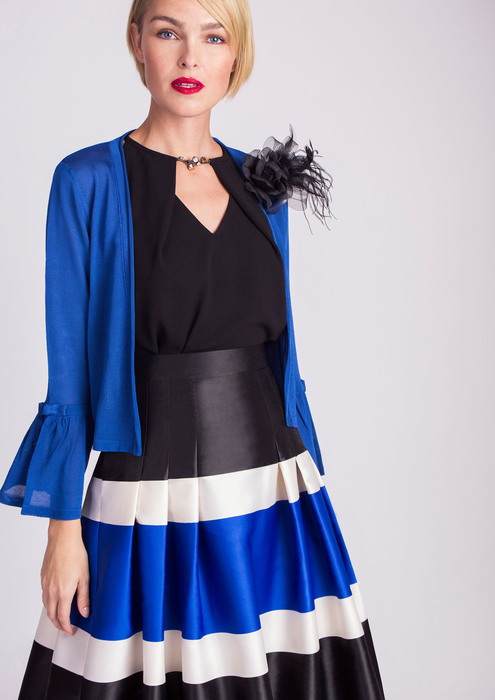Blue jacket with flounce sleeve