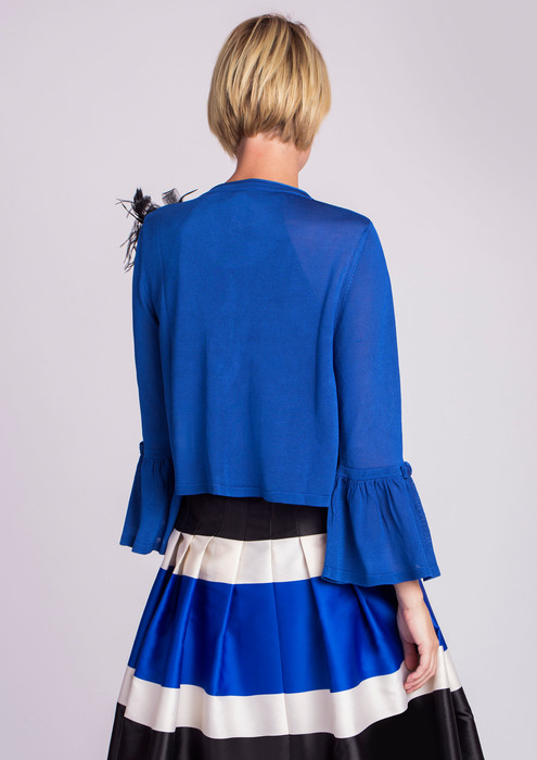 Blue special occasion cardigan with brooch