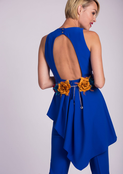 Blue special occasion jumpsuit with low back