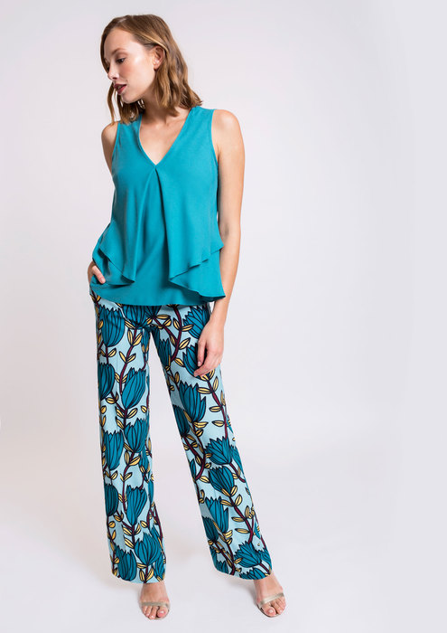 Blue top with printed trousers