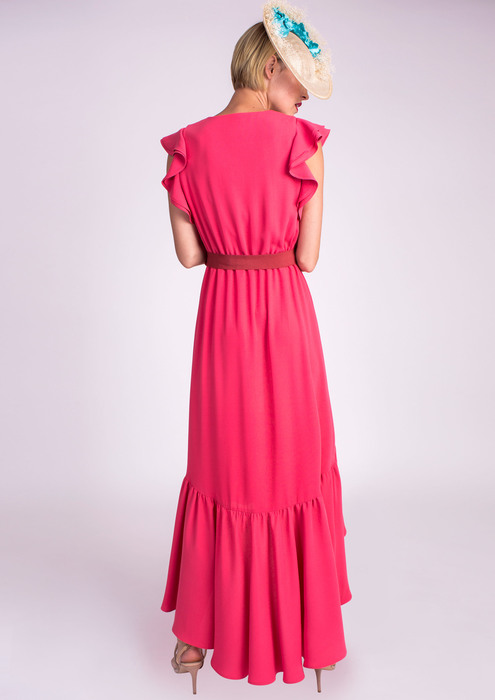 Coral special occasion dress with flounces