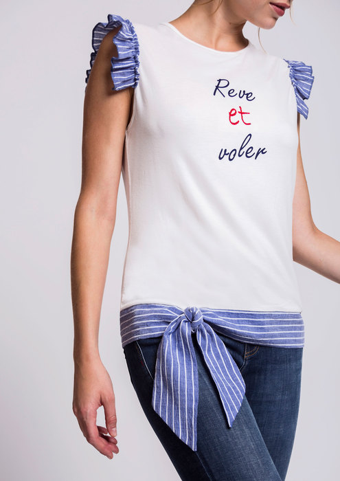 Ecru T-shirt with striped detail