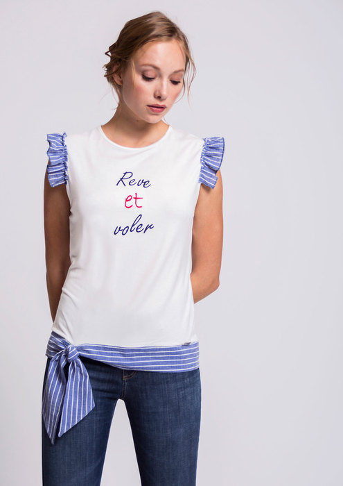 Ecru T-shirt with striped sleeves and hem