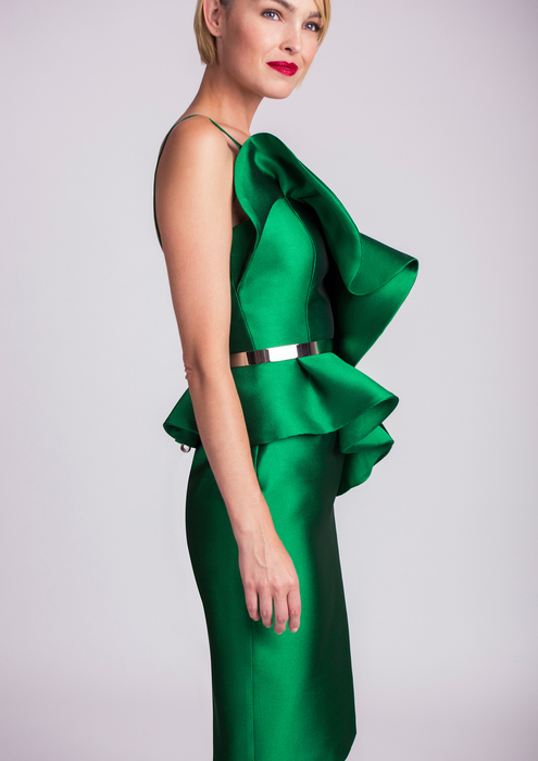 Green cocktail dress with flounce