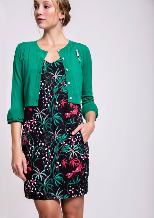 Green jacket with printed dress