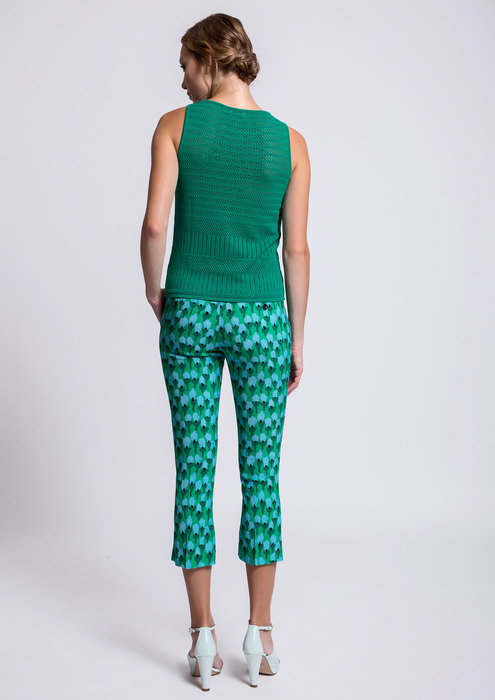 Green top with printed trousers