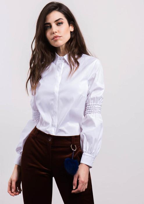 Camisa blanca con manga fruncida 1ed7208873057