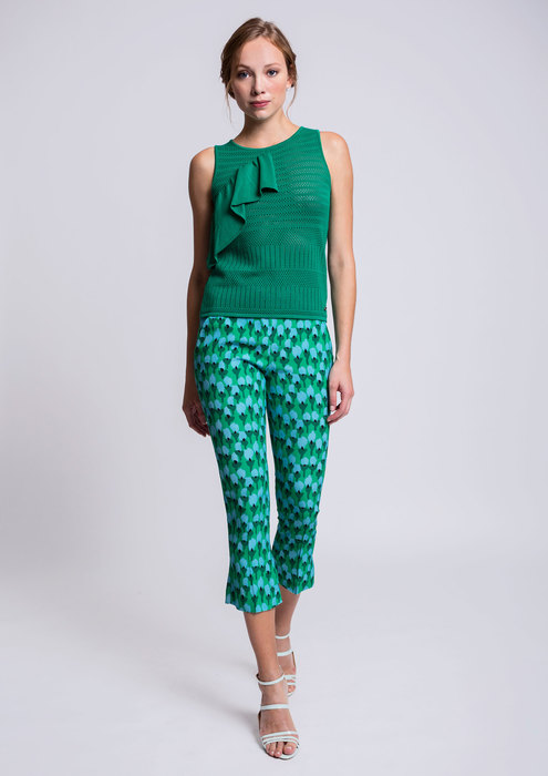 Knit top with printed trousers