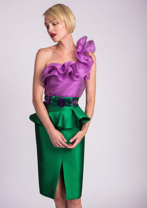 Lilac top with straight green skirt