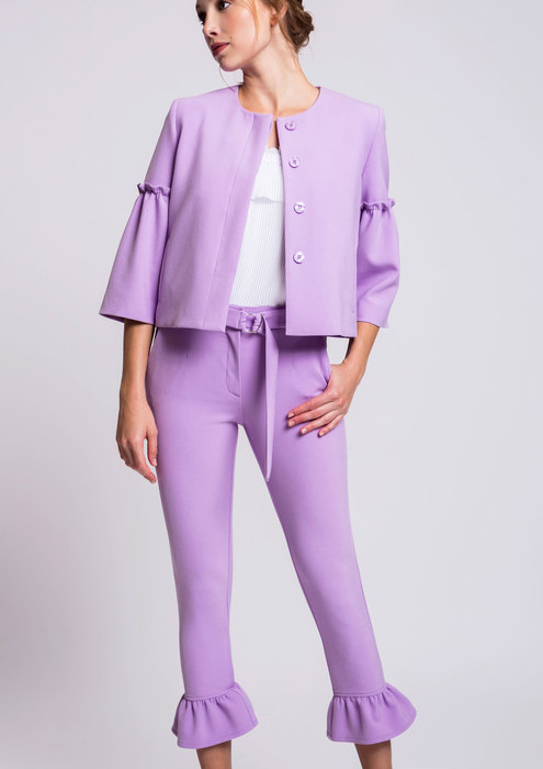 Lilac trousers and jacket