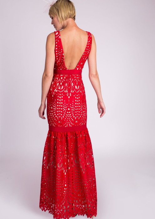 Long crochet dress in red with low back
