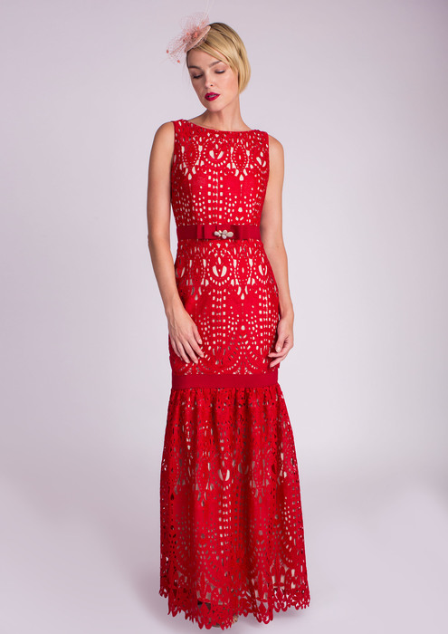 Long red crochet dress