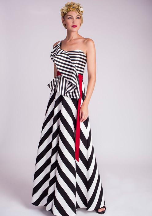 Long striped special occasion dress