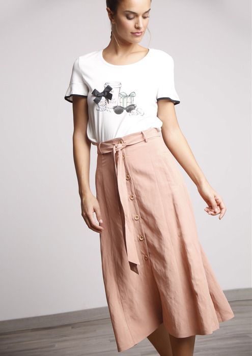 9a7c771d40 Falda midi rosa