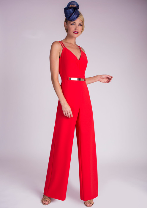 Red jumpsuit with straps