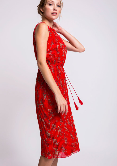 Red pleated dress with floral print