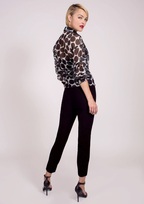 Special occasion cross-over blouse with black trousers