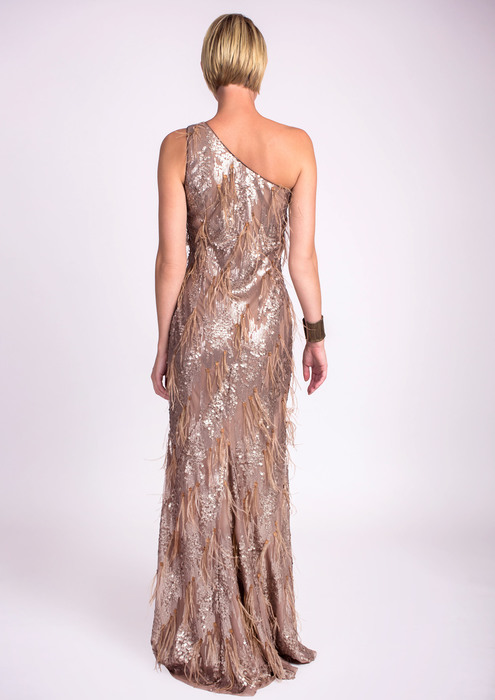 Special occasion dress with sequins and feathers